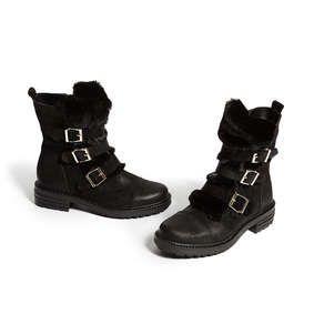 c51d72cde4e8 Shop STOOP Black Low Heel Biker Boots by KURT GEIGER LONDON at official  Kurt Geiger Site