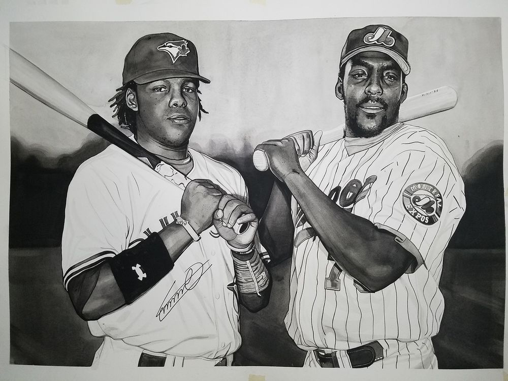 eb6387619f Father Son Vladimir Guerrero Sr. and Jr. Original painting By Michael  Pattison