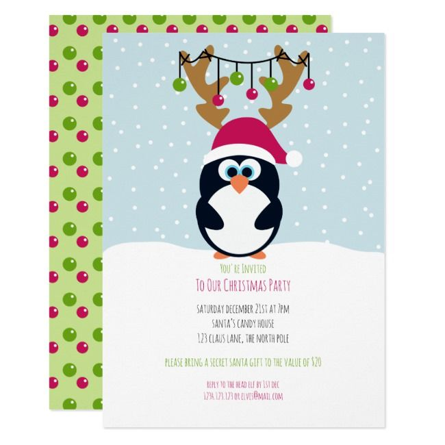 Christmas Penguin Reindeer Party Invitation |  Christmas Penguin Reindeer Party Invitation