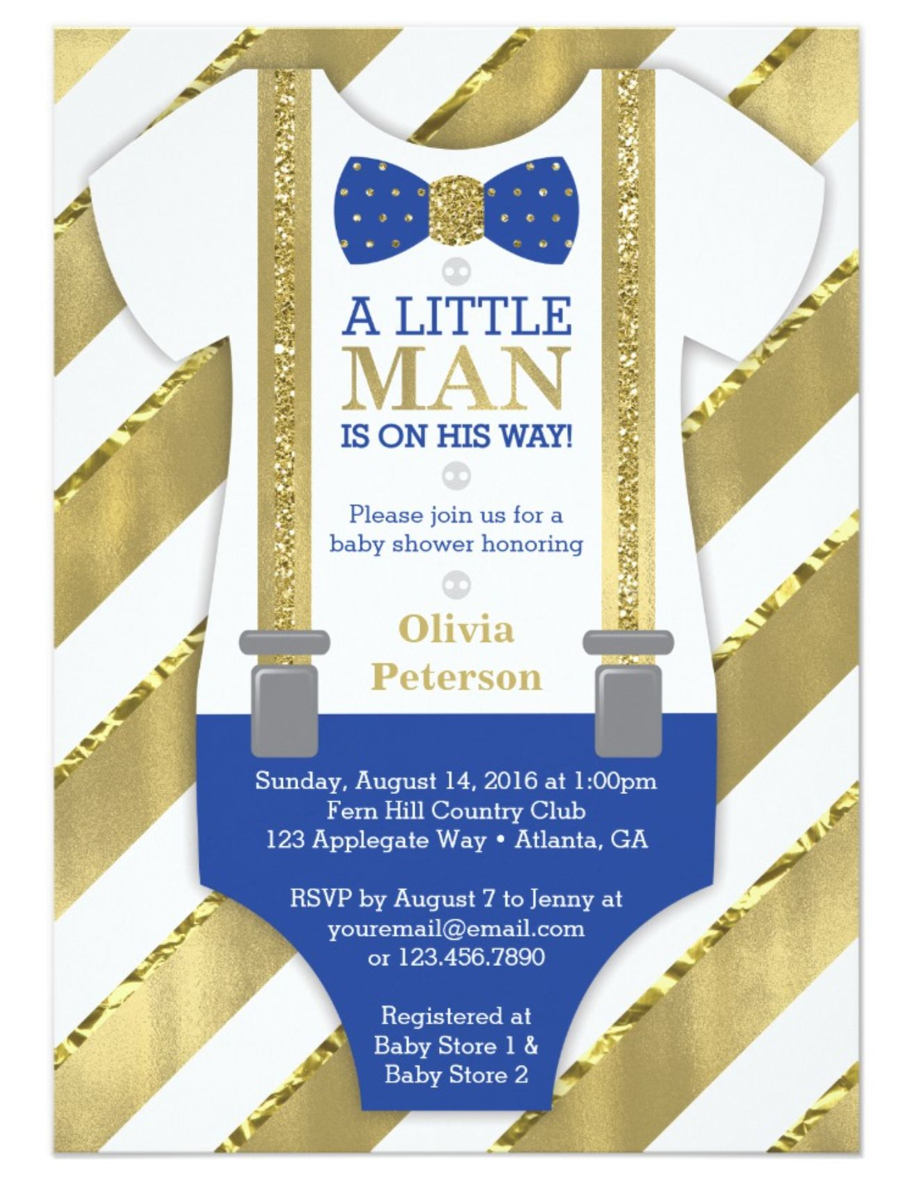 Little Man Baby Shower Invitation in Royal Blue and Gold | Little ...