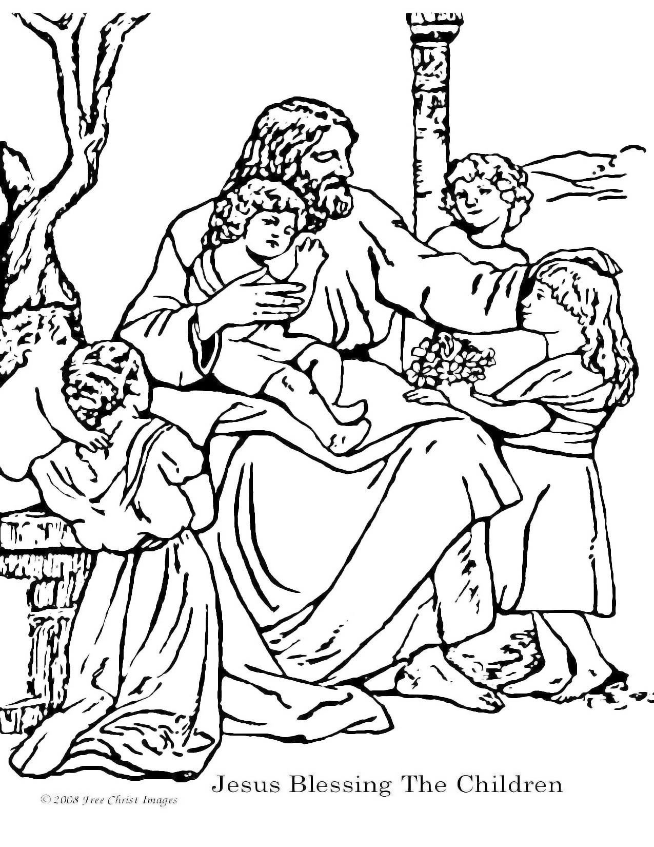 Jesus blesses the children | Bible coloring pages ...
