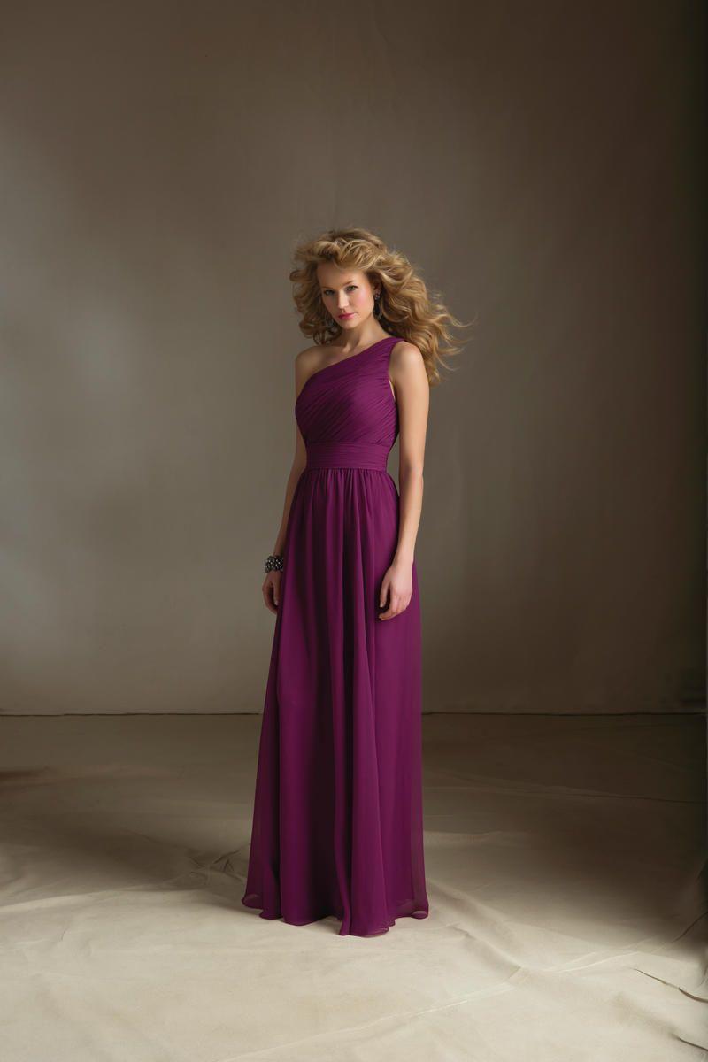 Aline chiffon one shoulder natural waist floorlength bridesmaid