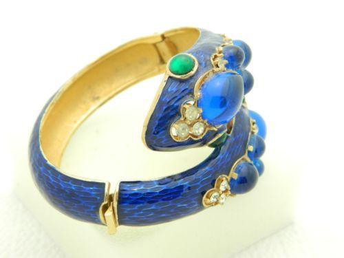 Vtg RARE Crown Trifari L'Orient Blue Enamel Two Headed Snake Rhinestone Bracelet | eBay