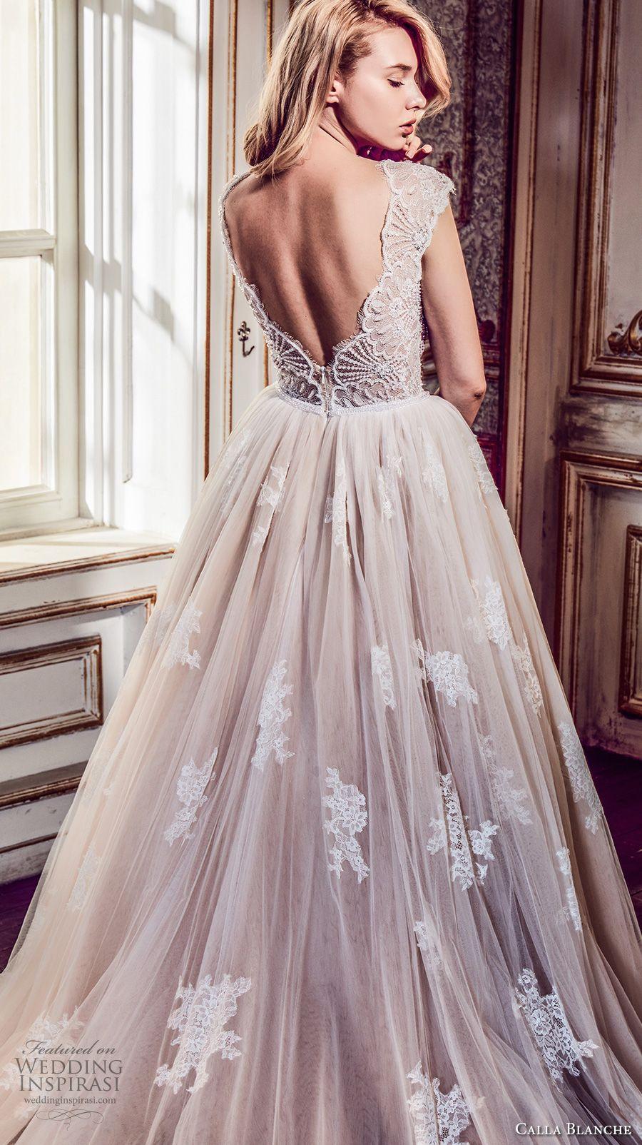 eeb53165f18 calla blanche fall 2017 bridal cap sleeves v neck heavily embellished bodice  romantic blush color a