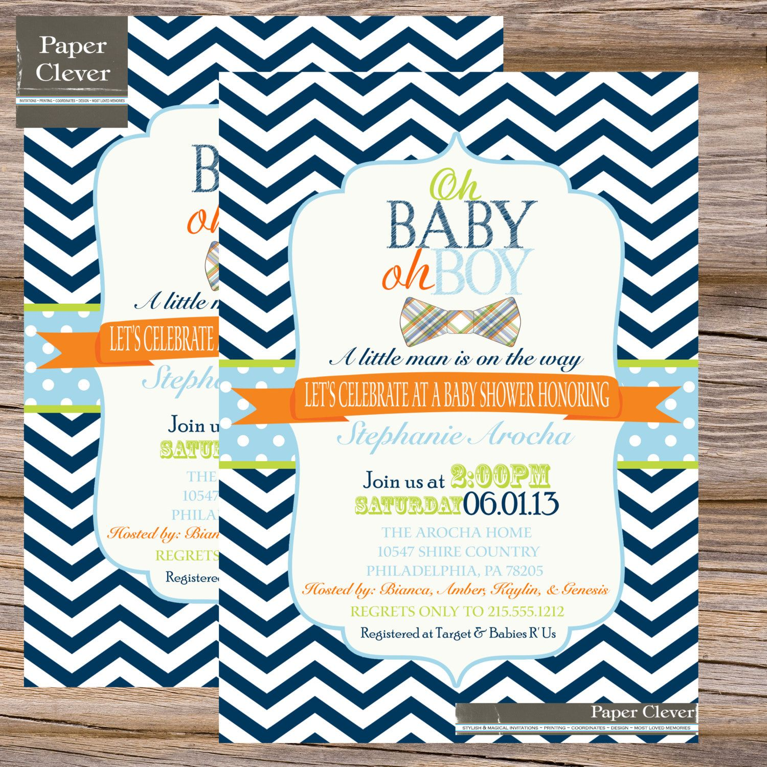 Bowtie Boys baby shower invitation oh boy navy lime by paperclever ...