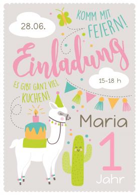 Lustige Einladungskarte Zum 1. Geburtstag Mit Lama, Kaktus Und Rosa  Lettering. #1geburtstag