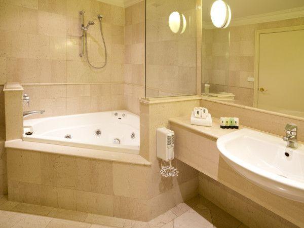 Ideas Amazing Corner Spa Bathroom Designs Using Drop In Jacuzzi