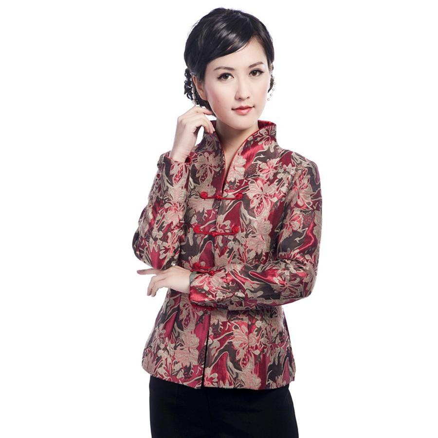 Autumn New Red Chinese Female Satin Jacket Women Autumn Winter Coat Elegant  - US $27.36