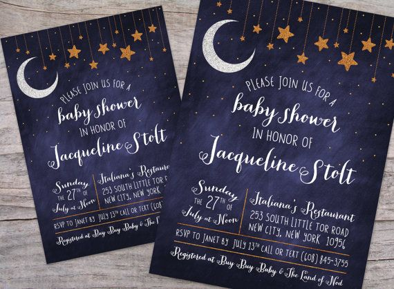 graphic about Starry Night Printable named Higher than the Moon Starry Evening Child Shower Invitation with Free of charge