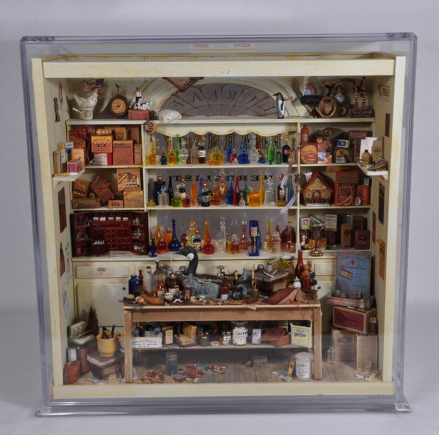 Miniature Pharmacy in it's Display Case