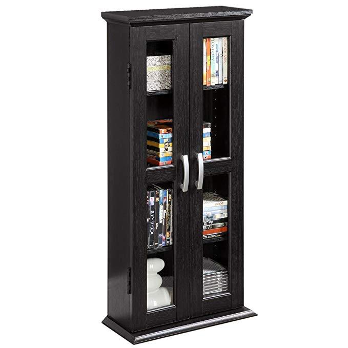 Amazon Com Walker Edison 41 Wood Media Storage Accent Cabinet With Glass Doors Black Kitchen D Media Storage Tower Bookcase Storage Media Storage Cabinet #tall #living #room #storage #cabinets #with #doors