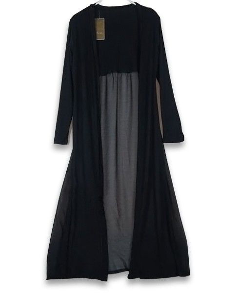 Black Super Soft Long Coat with Open Front and Semi-sheer Back, be ...