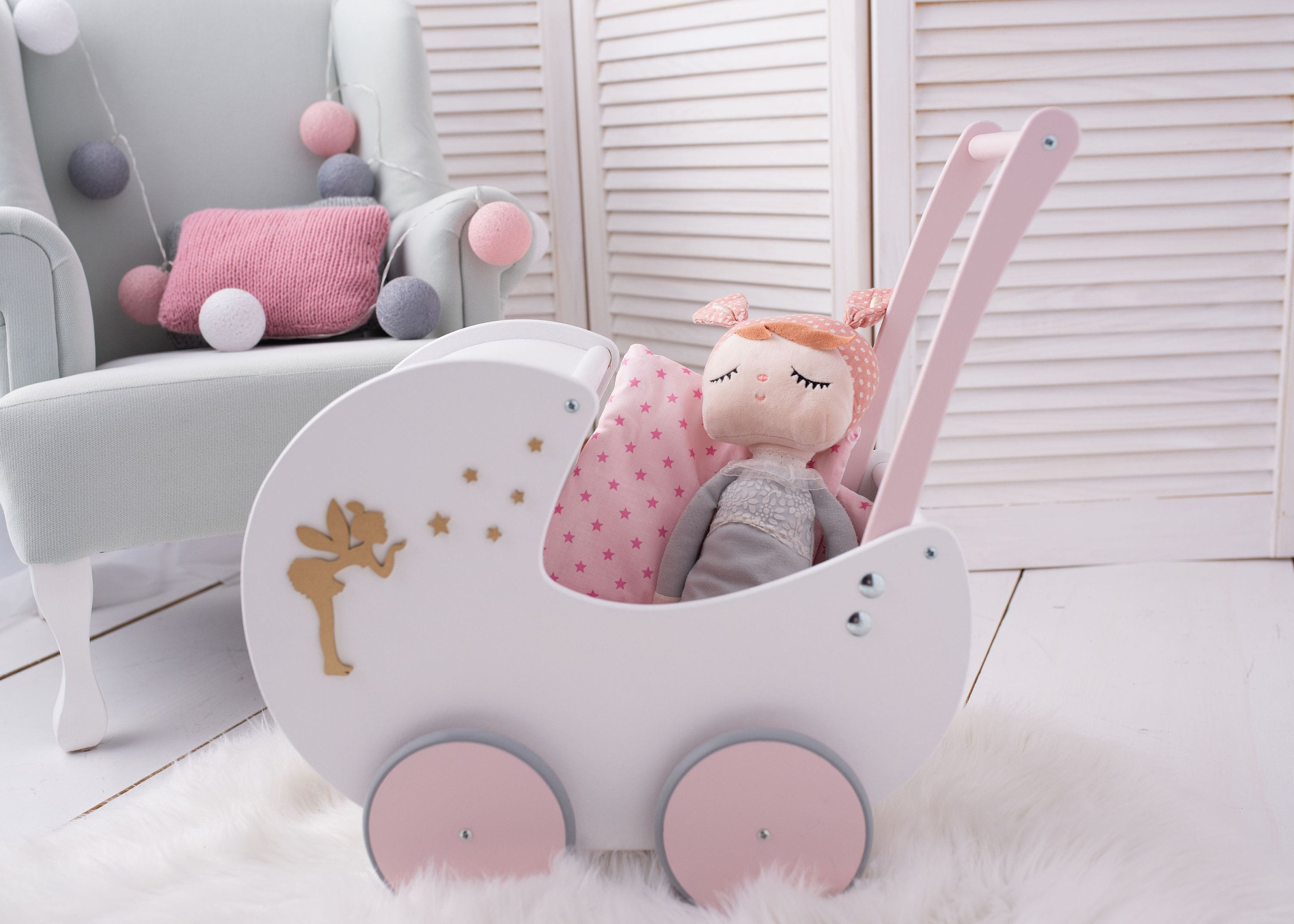 Personalized Gift for Girls Wooden Dolls Buggy Stroller