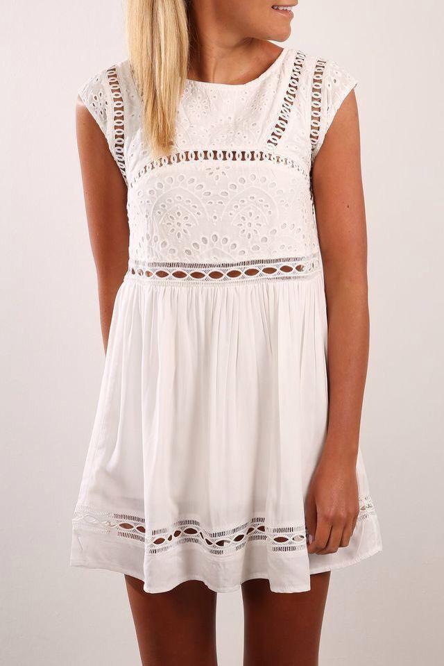 879f3ff47ad 『 darlynprincess 』 White Dress Casual, White Tunic Dress, White Sundress,  Eyelet Dress