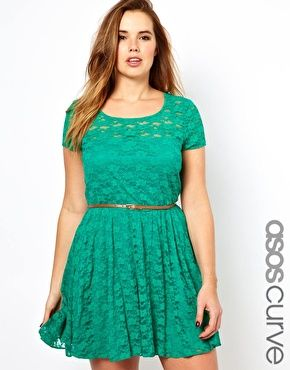 Image 1 Of Asos Curve Lace Skater Dress With Belt Lace Skater Dress Asos Dress Fashion