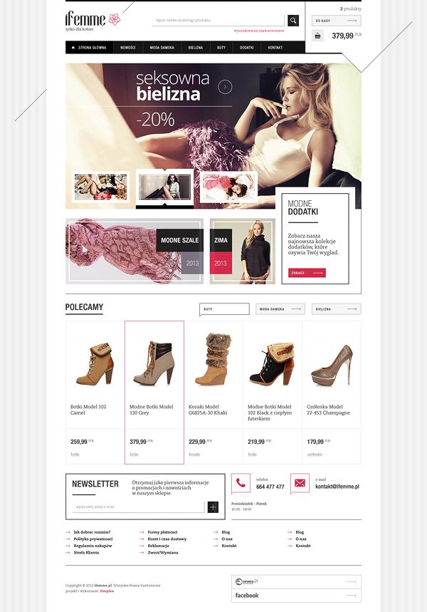 iFemme - fashion store by Mateusz Kolebuk #webdesign #ecommerce | UI ...