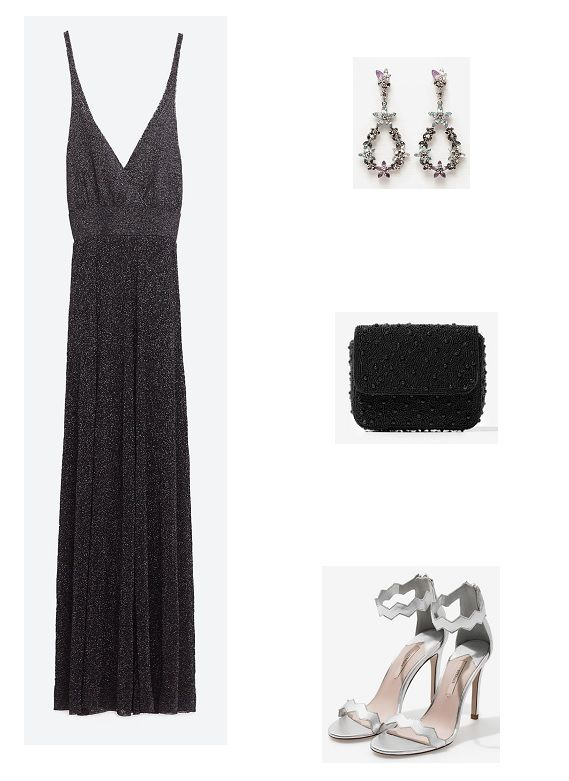 Black lurex maxi dress+silver ankle strap heeled sandals+black clutch+silver earrings. Summer Evening Wedding Outfit 2016