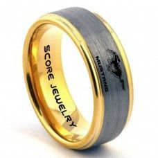Silver Tungsten Ring with Step Edge Brushed Finish 8mm Tungsten Wedding Band Mustang Ring Ford Mustang Ring Ford Ring