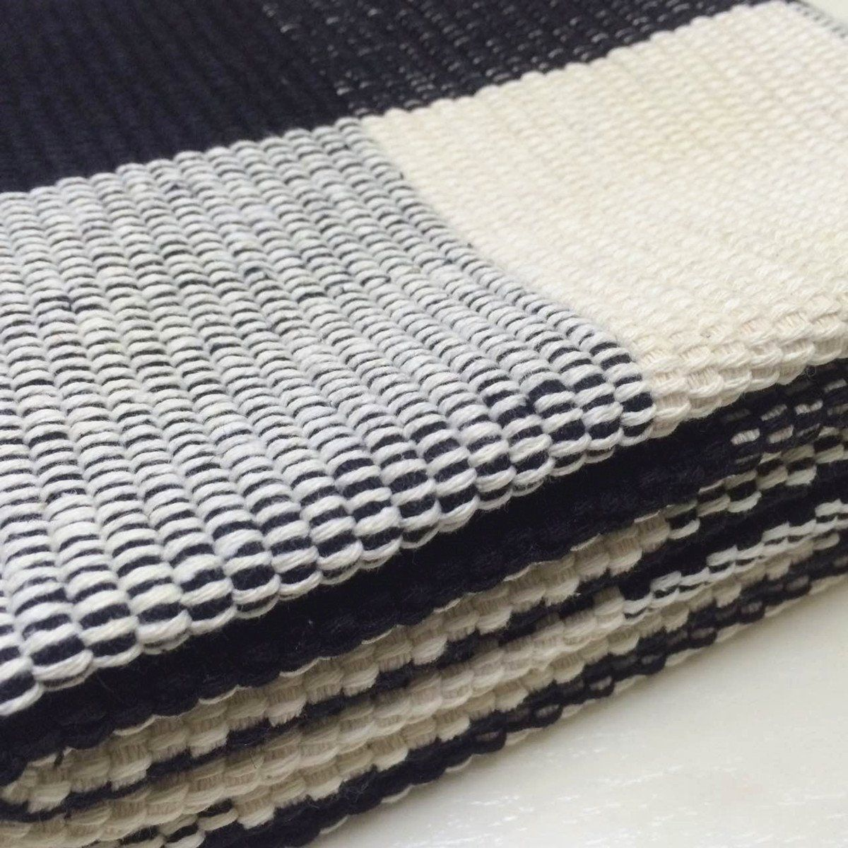 Ukeler Black And White Plaid Rugs Cotton Handwoven Checkered