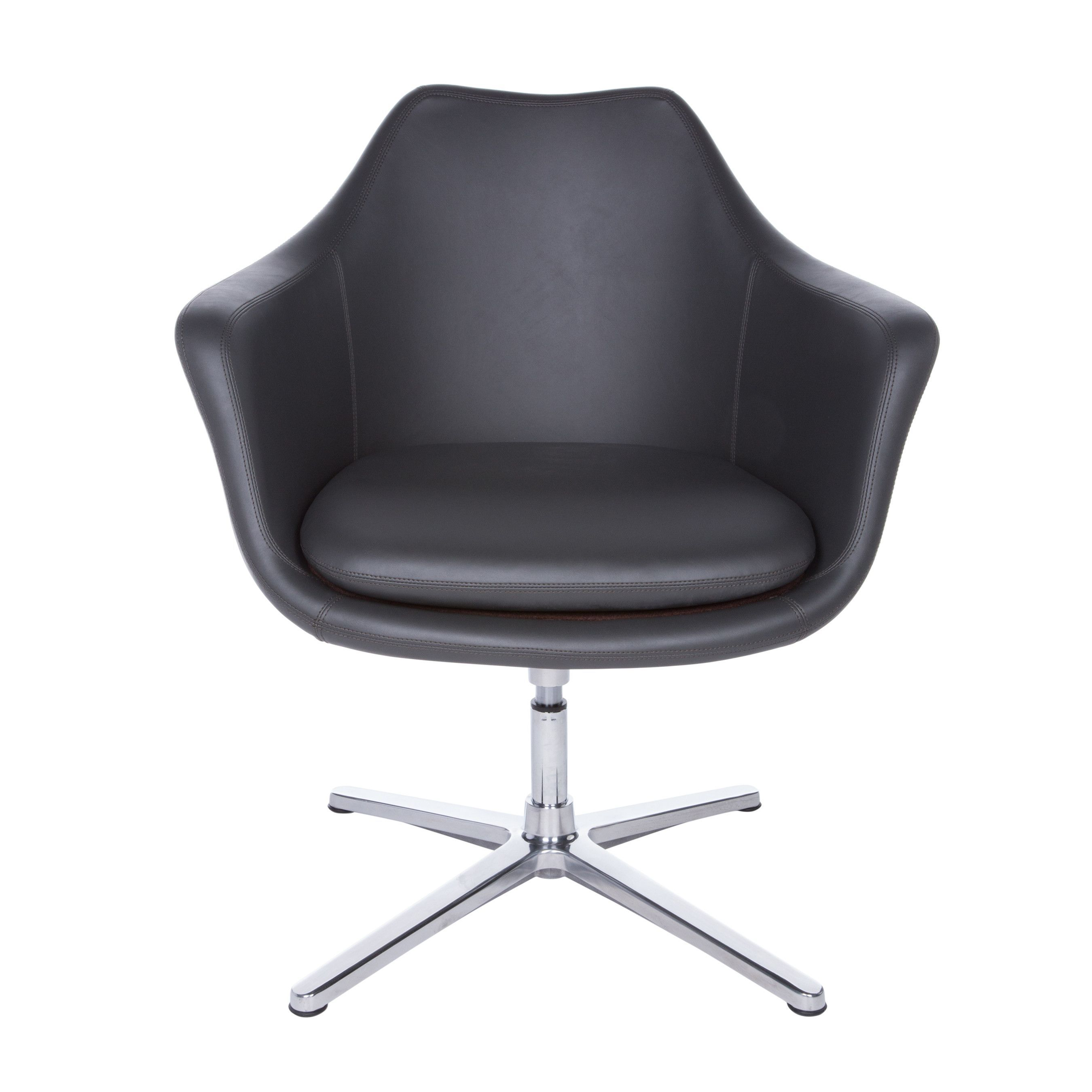 Giovana Lounge Chair In Dark Gray And Polished Aluminum