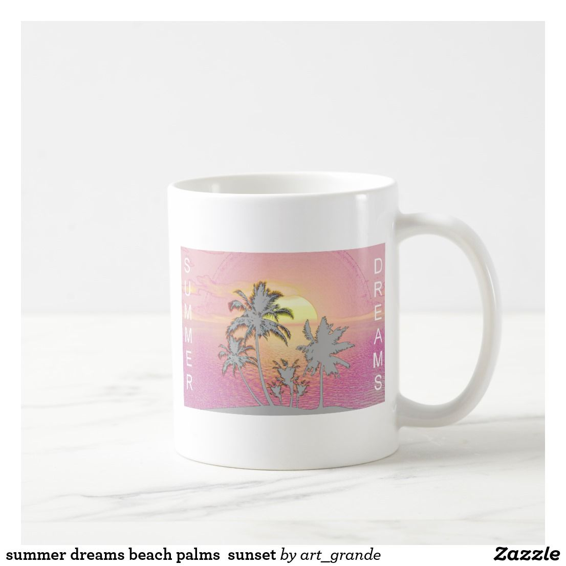Summer dreams beach palms sunset coffee mug  Holiday  Pinterest