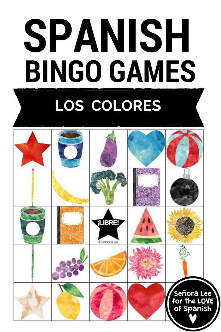 Spanish Colors Bingo Los Colores Pinterest Spanish Colors