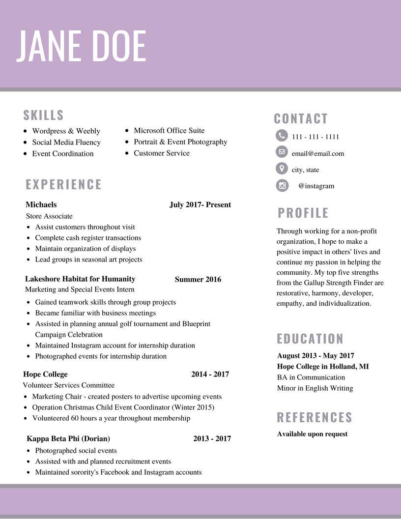 woman resume female simple lavendar Resume design