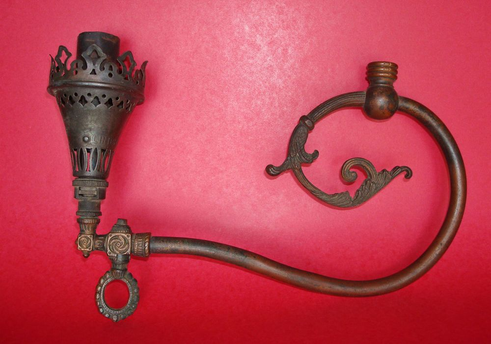 Antique Victorian Lindsay Single Burner Brass Gas Light Fixture Gas Lights Gas Lamp Light Fixtures