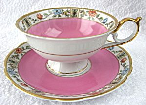 Hot Pink Cup And Saucer Vintage Royal Bayreuth Famille Rose Border