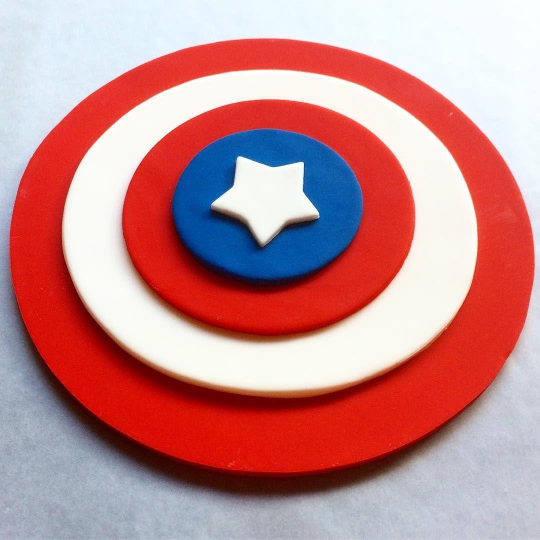 Captain America fondant 6 and 8 shield cake toppers Fondant