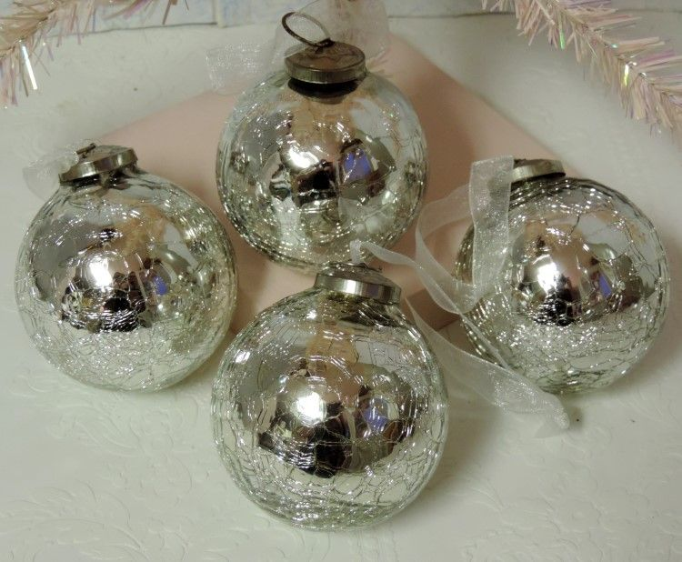 antiqued silver mercury glass christmas tree ornaments - Mercury Glass Christmas Decorations