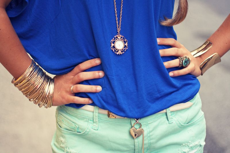 cobalt & mint, like this entire look