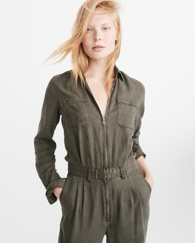 bd46e63a6b7b A F Women s Utility Jumpsuit in Olive Green - Size 00 Petite ...