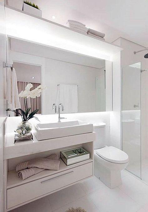 20 banheiros e lavabos pequenos e claros Bath, Bath room and - lavabos pequeos