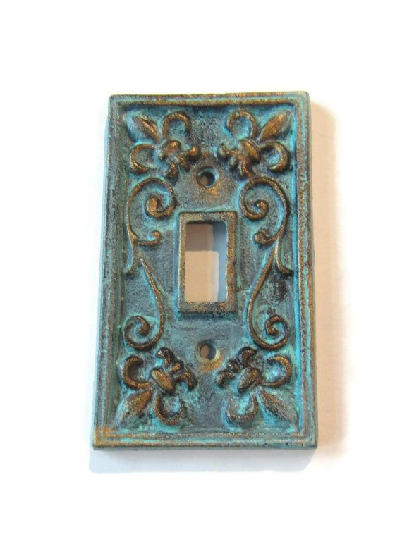 Shabby Chic Light Switch Plate Cover / Patina Cast by ShabbyAnchor