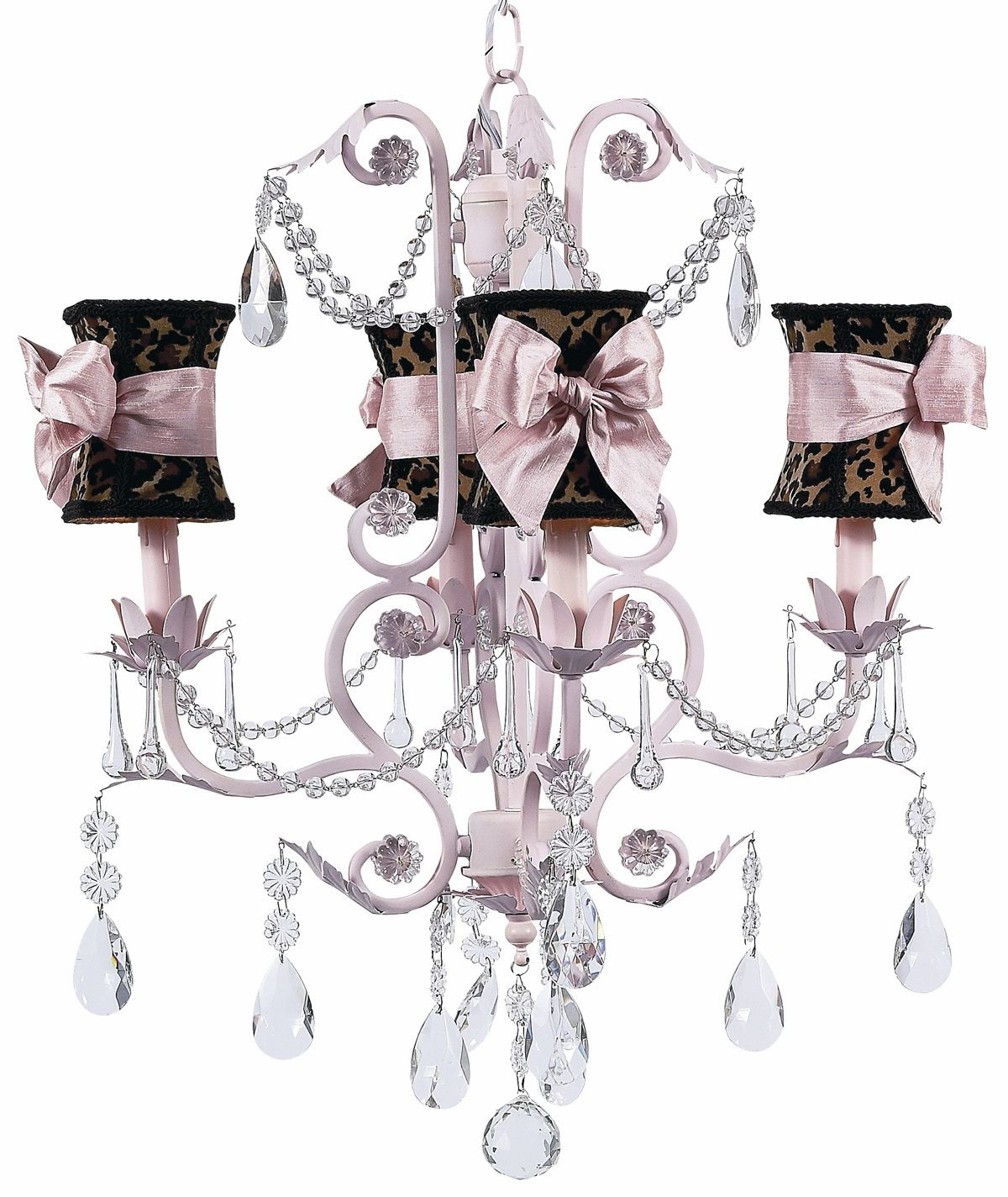 Jubilee collection 4 arm valentino pink chandelier with leopard with jubilee collection 4 arm valentino pink chandelier with leopard with pink sash bow hourglass shades arubaitofo Images