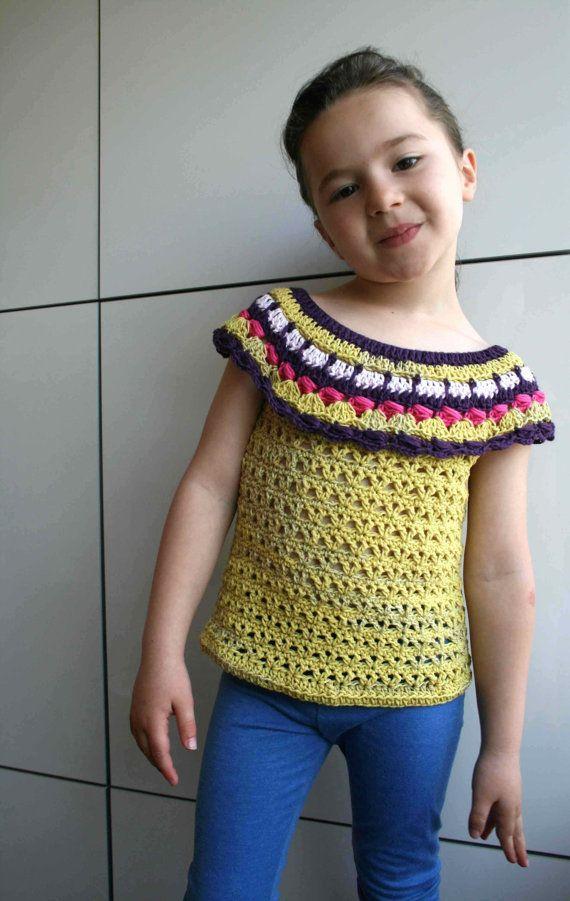 Crochet pattern crochet girls top pattern by LuzPatterns on Etsy ...