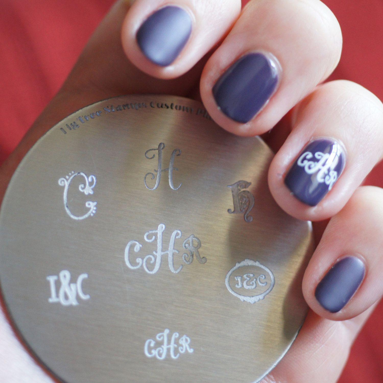 Custom Monogram Initials Nail Stamping Plate Handmade Nail Art Stamp