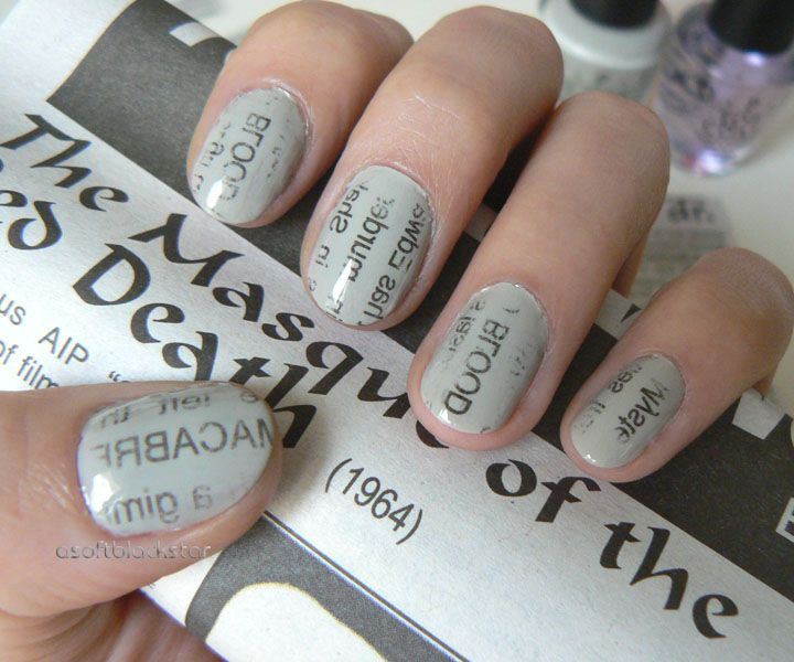 Newspaper nails horror film themed vincent price my style newspaper nails horror film themed vincent price prinsesfo Choice Image