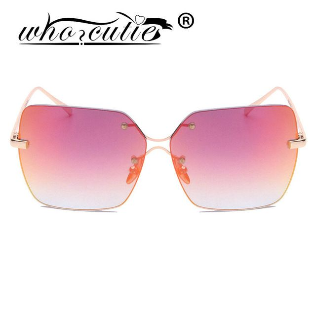3c30e66b23 WHO CUTIE New Fashion Brand Designer Sunglasses Gradient Women Rimless Sun Glasses  Vintage Glasses Shades Rose Gold Sunglass