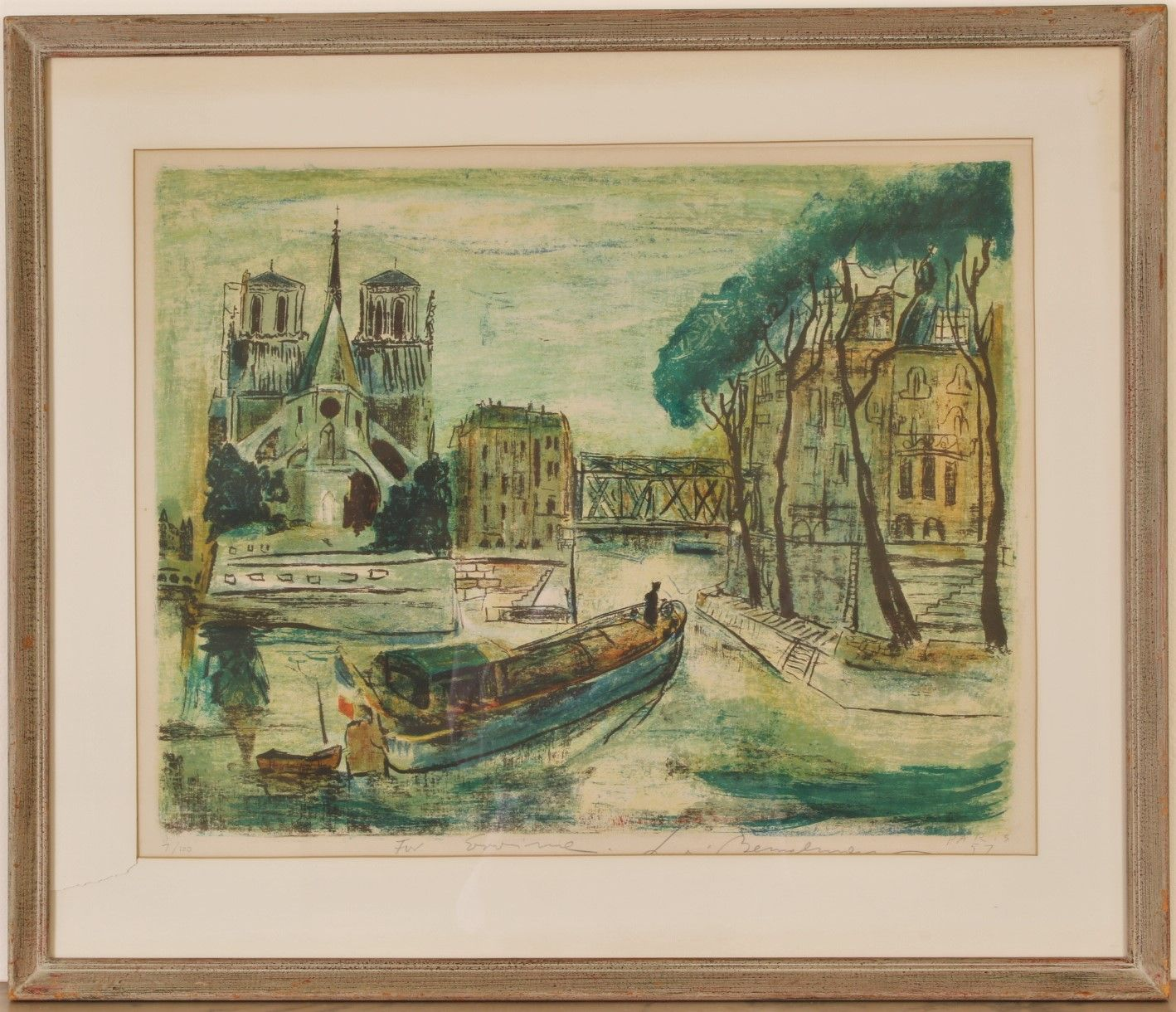 LUDWIG BEMELMANS (1898-1962) (of Madeleine fame), HAND COLORED LIMITED EDITION PRINT VIEW OF NOTRE DAME FROM THE SEINE.