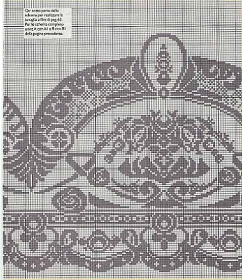 Схема скатерти крючком на круглый стол