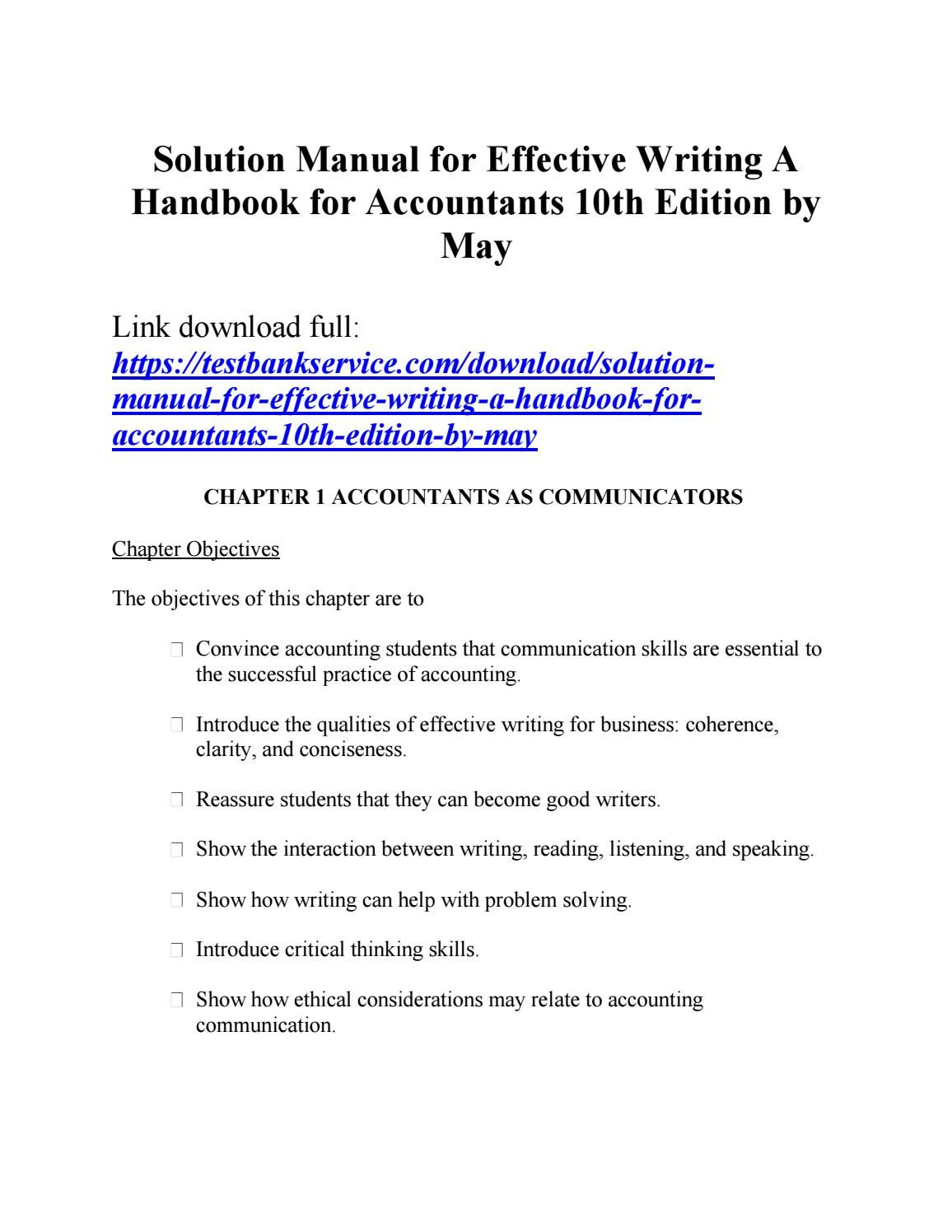 Solution Manual For Effective Writing A Handbook For Accountants 10th Edition By May Solutions Accounting Student Manual