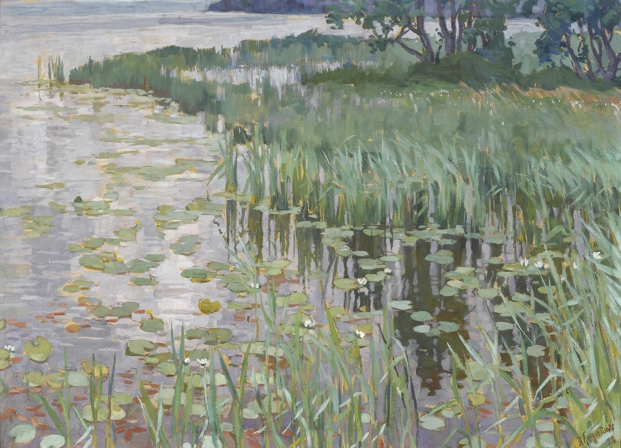 Old Paintings  Reeds, 1928 By Anatoly Kaigorodov (russian,