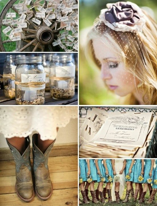 charming Cowgirl Wedding Ideas Part - 1: cowgirl wedding- I love the color of the bridesmaid dresses and the boots
