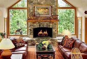 Stunning Tropical Tan Living Room Stone Fireplace Carpet Ceiling ...