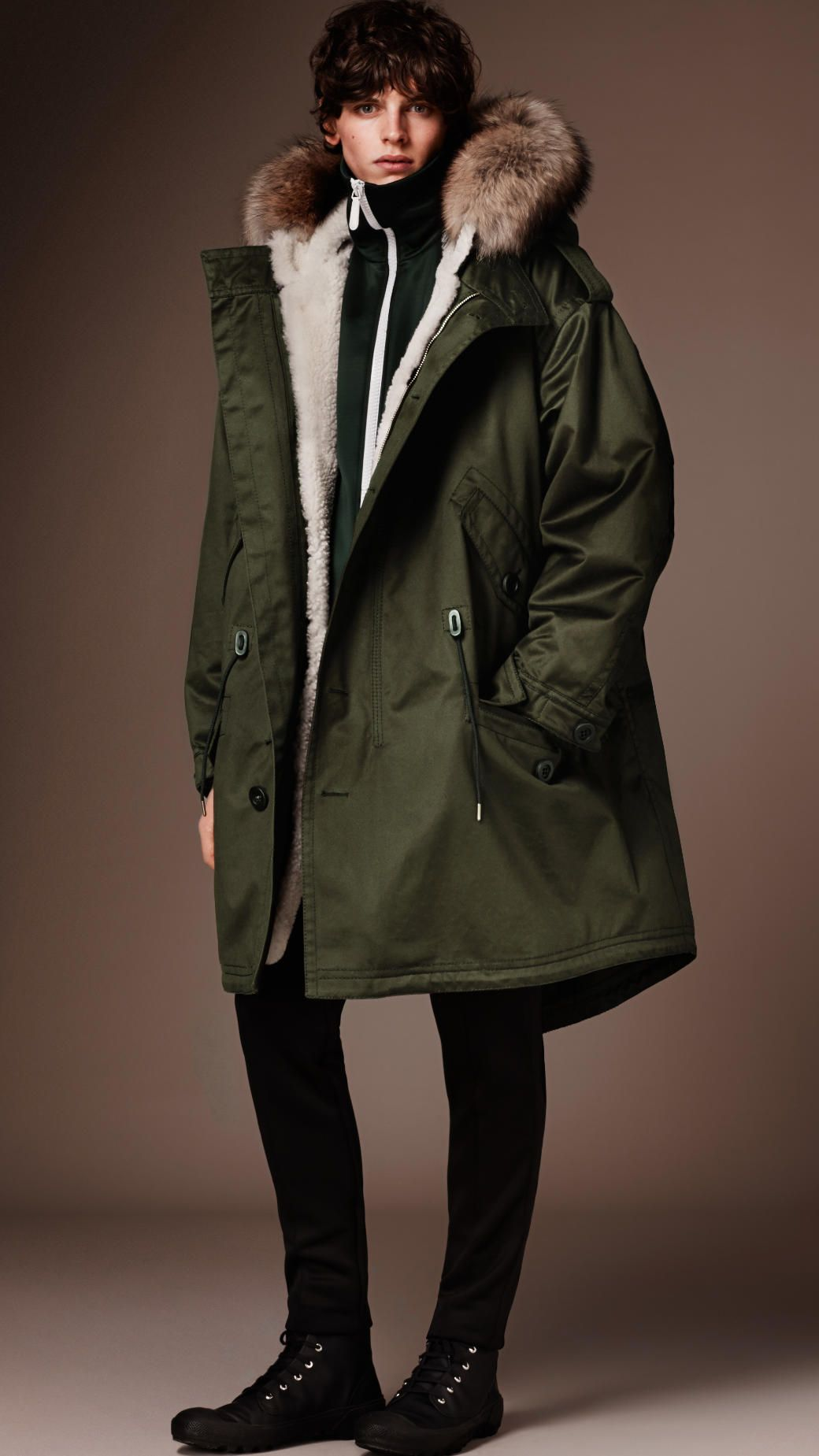 7664d149b12 Cotton Parka with Detachable Shearling Liner