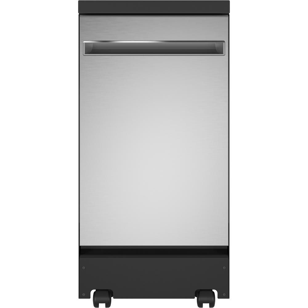 Ge Portable Dishwasher In Stainless Steel With 8 Place Settings