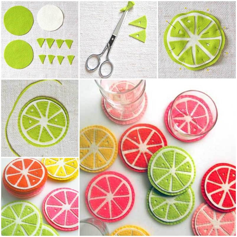 DIY Cute Colorful Felt Coasters | Creative Ideas | Pinterest ...