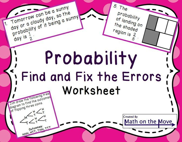Probability Find And Fix The Errors Worksheet 7sp5 And 7sp6